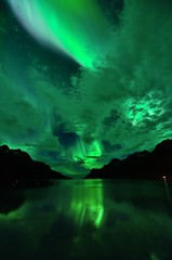 Aurora reflections in Ersfjordbotn (John A.Hemmingsen) Tags: longexposure sky reflection water colors night clouds stars landscape aurora northernlights borealis troms troms nordlys 123sky ersfjordbotn tokina1116 nikond7000 top25naturesbeauty
