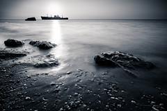Black Sea (Dominic Cristofor) Tags: longexposure sea seascape beach monochrome sunrise blackwhite sand nikon voigtlander noflash 20mm ultrawide waterscape gnd splittoning 20mmf35 d700 nd400x