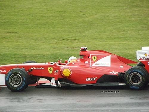 Fernando Alonso in his Ferrari F1 car at the 2011 British Grand Prix at Silverstone