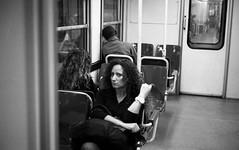 (Suspicion) (Robbie McIntosh) Tags: leica blackandwhite bw woman film girl monochrome station analog train 35mm subway kodak candid trix tube streetphotography