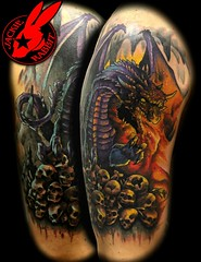 Dragon Tattoo by Jackie Rabbit (Jackie rabbit Tattoos) Tags: city tattoo skulls fire star virginia cool scary colorful bright good awesome great s flame roanoke va angry firebreathing breathing kull dreagon jackierabbit