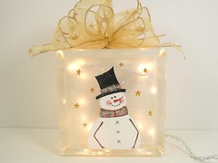 Lighted Glass Block Snowman 5 3/4 x 5 3/4 x 3 1/4 Hand Painted (Painting by Elaine) Tags: lighting christmas light holiday glass lights snowman painted decoration handpainted block decor homedecor snowscene lighted christmaslight paintedglass accentlight handpaintedglass lightedglassblock snowmandecorations snowmancollector paintingbyelaine lightedblock