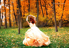 Psithurism (Katharine Hannah.) Tags: autumn trees red orange selfportrait fall girl field grass leaves yellow hair dress wind bokeh windy blow what redhair simonsays psithurism