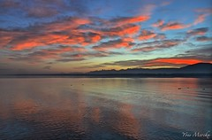 Sunrise in Versoix (vander84) Tags: morning sky cloud sun lake reflection water sunrise switzerland soleil eau suisse lac reflet ciel reflect nuage lman matin leverdesoleil aube versoix