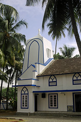 Blue and white church (gornabanja) Tags: church building architecture religion white blue palm trees palmtrees kochin cochin kerala india nikon d70 blinkagain