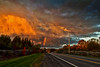 Rainbow Sunset (Matt Molloy) Tags: road autumn trees sunset sky cliff nature grass rain birds clouds landscape photography flying crazy rainbow chaos awesome powerlines limestone telephonelines colourful gravel lovelife mattmolloy almostmissedit