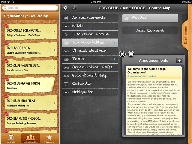 The Blackboard Learn Mobile app allows you to access any of the Blackboard Organizations in which you are enrolled. Organizations provide an easy way for WU clubs, committees, cohorts and other groups to have a virtual meeting space in Blackboard.