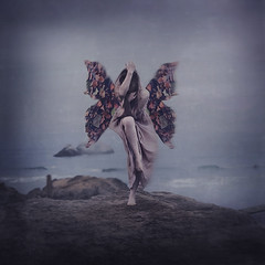 the fear of falling (brookeshaden) Tags: ocean cliff fog clouds butterfly wings rocks waves falling fineartphotography conceptualphotography thefearoffalling fearsandfairytales