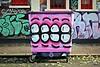 Sweet Toof (8333696) Tags: street pink urban colour art happy graffiti bucket neon artist candy bright sweet pastel tag teeth magenta bin burning tagging rowdy wheelie toof