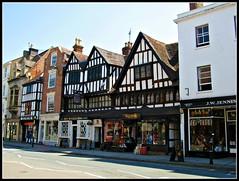 Tewkesbury (pefkosmad) Tags: old blackandwhite buildings ancient medieval gloucestershire halftimbered tewkesbury
