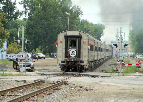 NKP#765 #13 PASSING THE DEARBORN SIGN BRINGING UP THE MARKERS NS TRAIN#958 TOLEDO,OHIO 7-28-12 SATURDAY