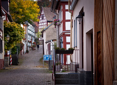 Cobblestone Street in Idstein, Germany (ChrisGoldNY) Tags: travel autumn trees streets architecture germany europa europe call forsale eu villages cobblestones viajes german posters albumcover bookcover towns bookcovers albumcovers alleys deutsche gridskipper idstein deutscheland jaunted chrisgoldny chrisgoldberg chrisgoldphoto
