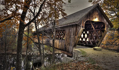 Henniker Bridge (Pragmatic1111) Tags: bridge autumn fall water leaves river nikon newhampshire covered coveredbridge hdr henniker d700 mygearandme