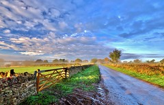 A Quiet Start (Mike Dorey) Tags: greatbritain autumn trees light england sky sun southwest tree green english field clouds rural sunrise landscape dawn october track britain farm country farming tracks sigma bluesky cotswolds gloucestershire lane agriculture stroud hdr oakridge d90 englishness
