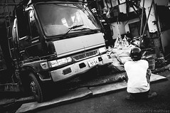 inside,out (SandoCap) Tags: street urban bw house monochrome japan truck tokyo destruction demolition tatami  fujifilm worker   mil   x100     japaninbw