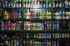 (The New Motive Power) Tags: city urban streets window shop night dark evening glow bottles sofia vibrant cleaning bulgaria rows late products colourful simple   canon7d