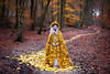 Wonderland 'The Guidance of Stray Souls' (Kirsty Mitchell) Tags: autumn leaves yellow fairytale forest woodland landscape woods katie magic spell cloak wonderland enchanted makeawish sleepwalk thejourneyhome kirstymitchell elbievaneeden theguidanceofstraysouls