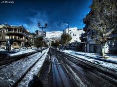 Snowy Damascus (Ali Photography ****SYRIA****) Tags: street blue sky mountain snow tree canon apartments powershot syria damascus hdr    qasion  sx30 abouremanah