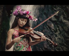 fairy music (Svetlana Bekyarova) Tags: flowers music texture girl waterfall airy violine 7024