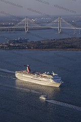 Aerial of Carnival Cruise Ship in Charleston (Richard Ellis Photography) Tags: carnival usa sc water vertical america evening harbor us day ship unitedstates harbour transport southcarolina nobody nopeople aerial fromabove line charleston transportation passenger lookingdown pleasure lowcountry crusie ravenelbridge