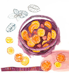 Sangria (Sharon Farrow) Tags: summer leaves collage fruit illustration pen pencil painting paint acrylic pattern wine decorative mint lemons alcohol watercolour summertime illustrator oranges crayon sangria foodanddrink waxcrayon foodillustration illustratedfood illustratedrecipe sharonfarrow illustrateddrinks