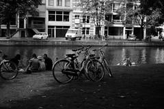 Bike at canal in Amsterdam 5 (Amselchen) Tags: bicycle bw mono lightandshadow light shadow amsterdam travel canal fuji fujifilm fujinon fujifilmx fujifilmxseries xt10 xf35mmf14r