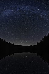 Milky Way on lake - Voie lactée sur lac (Sébastien Vermande (Only the Weekend)) Tags: canon7d france midipyrénées lot spring printemps nightscape longexposure astronomy space galaxy night nuit sky ciel nightsky cosmos arbres trees milkyway voielactée astrophography stars étoiles samyang8mm fisheye reflection vermande lac lake eau water