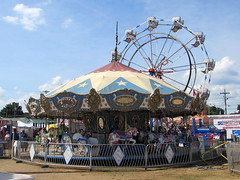 Amusements Of America Merry Go Round And Eli Ferris Wheel. (dccradio) Tags: malone ny newyork upstateny northernny franklincounty franklincountyfair countyfair fair communityevent fun entertainment amusementsofamerica carnival midway biga aofa thrillride thrillrides carnivalrides rides amusements amusementride mechanicalride amusementdevice fairrides mgr merrygoround carousel horse horses eliwheel ferriswheel wheel bigeli elibridgecompany elirides