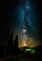 Milky Way (Stephan Harmes) Tags: alpen milchstrase milkyway alps sterreich austria europa europe sky himmel stars sterne trees bume haus house blue blau lightning green grn schwarz black longexposure langzeitbelichtung