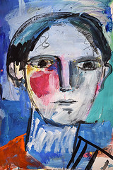 Young Man's portrait (amaradacer) Tags: painting man face portrait abstract figurative modern contemporary art mixedmedia acrilyc drawing black pink stilllife