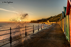 Sea wall splash. (Bev Cappleman) Tags: whitby seawall seascape sea waves wave sunrise northyorkshire northeastcoast northeast