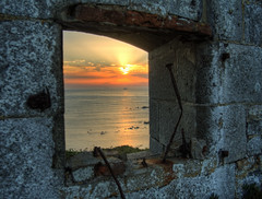 Sunset through the ruins of Fort Tourgis, Alderney (neilalderney123) Tags: 2016neilhoward tourgis alderney sunset fort architecture ortac olympus omd