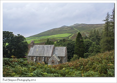 Parish Church of St Peter, Martindale (Paul Simpson Photography) Tags: hallinfell landscape lakedistrict countryside cumbria church religion paulsimpsonphotography photoof photosof stpeters september2016 sonya77 greyday grayday weather trees mountains mountain hillside fern plants nature martindale