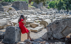 Girl in Red Dress Taking Photo in front of Ruins (danliecheng) Tags: ephesus selcuk turkey attractions camera dress fashion girl lady landmarks longhair people photographing red rocks ruins slippers summer tourist travel visit woman