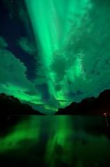 Northern Lights (John A.Hemmingsen) Tags: longexposure sky seascape reflection water night clouds stars landscape aurora northernlights auroraborealis borealis troms nordlys ersfjordbotn tokina1116 nikond7000