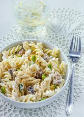 Fusilli with ricotta, white-wine glazed sausage bits and pistacho nuts (RecipeTaster) Tags: white sausage pasta pork sicily ricotta parmesan pistachios washedout