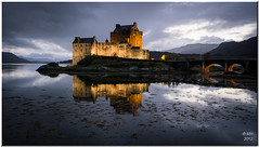 Eilean Donan Castle - evening (Maria-H) Tags: uk castle evening scotland unitedkingdom panasonic explore pancake 20mm eileandonan floodlit dornie f17 gh2 dmcgh2