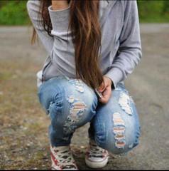 Cute (this photo) Tags: blue friends art girl happy candid jeans converse chucks