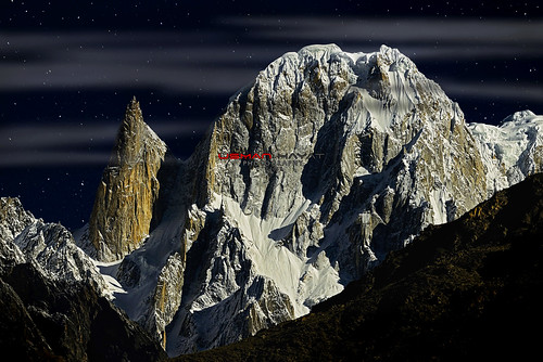 Lady Finger and Great Trango under a full moon