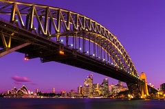 Sydney Harbor Bridge (Andr Distel Photography) Tags: park city longexposure bridge pink sunset color water landscape harbor nikon opera colorful long exposure cityscape purple harbour dusk under sightseeing sydney bridges australia tokina1224 down luna nsw late lunapark operahouse downunder sydneyharbourbridge fineartphotography harborbridge sydneyharborbridge landscapephotography famoussight nikond7000
