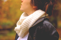 wonders of the season (amanda.genevieve) Tags: autumn portrait selfportrait fall girl face leaves yellow scarf hair profile bun leatherjacket aut