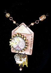 DA2012N079 mixed media necklace (Deborah Angel Art) Tags: cold art metal work mixed wire media handmade wrap jewelry copper bead resin links beaded connections fabricated