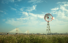 The second bridge on Yangzi River, Wuhan city (Qiao.Wei) Tags: bridge sky windmill reeds