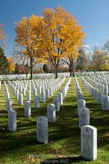 Fort Logan National Cemetary in the Autumn (Bridget Calip - Alluring Images) Tags: family autumn trees shadow people mountains army death fallcolor military cemetary navy headstones rows restingplace marines marble airforce fallensoldiers armedforces nationalcemetary greengrass bridgetcalip