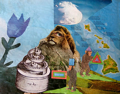 LARRY CARLSON, The Good Lion, collage on paper, 16 x 20in., 2012. (LARRY  CARLSON) Tags: art collage weird arte drawing contemporaryart modernart surrealism fineart surreal trippy psychedelic dali bizarre psy contemporarypainting visionary avantgarde larrycarlson psychedelicart mysticalart