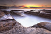 Potter Point (stevoarnold) Tags: ocean pink blue cloud water sunrise rocks sydney australia nsw rushing waterflow theshire potterspoint sutherlandshire