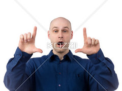 businessman with mouth open gesturing finger frame (people12markus) Tags: portrait white man male smart businessman studio photography corporate concentration photoshoot expression gesturing bald handsome professional business indoors whitebackground portraiture surprised thumb worker studioshot gesture job adultsonly formals oneperson shocked frontview confidence concepts caucasian mouthop