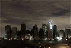 Manhattan Dark (Linus Gelber) Tags: nyc newyork skyline night dark manhattan empty sandy disaster poweroutage blackout canon28135mmisusm superstorm frankenstorm hurricanesandy
