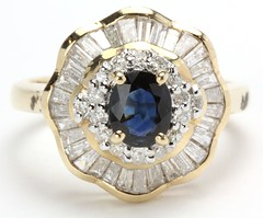 1052. Sapphire and Diamond Ballerina Ring