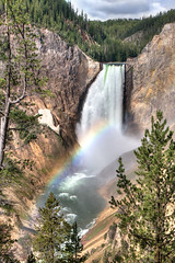 Lower Yellowstone Falls (Keith Gerstung) Tags: trees mist mountains color green nature water beauty forest river waterfall nationalpark rainbow montana grandcanyon explorer spray yellowstone wyoming lowerfalls nativeamericans trapper anseladams prospector cataract notch williamclark
